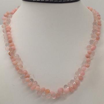 Natural pink rose quartz and aquamarine faceted drops mala