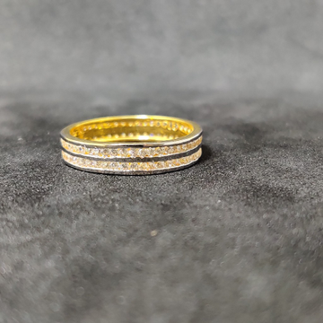 22Kt Fancy Double Line Gold Band-24705