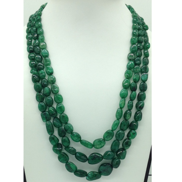 Natural Green Bariels Oval Tumbles3Layers Neckla...