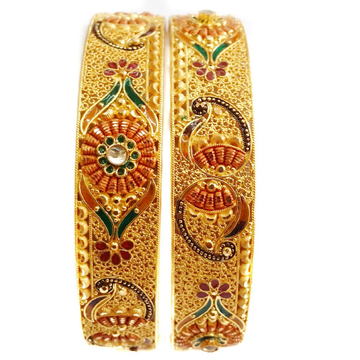 22k Gold Green Meenakari Flower Shape Patla Bangles MGA - GP043
