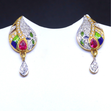 22KT/ 916 Gold pink Color Stone Pan Shape earring For Ladies BTG0025