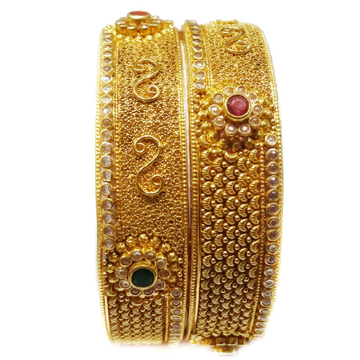 22k Gold Diamond Flower Shape Kada Bangles MGA - GP028