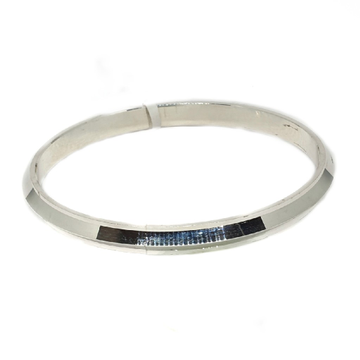 925 Sterling Silver Three Edges Sardarji Gents Kada Bracelet MGA - KLS0002