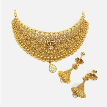 916 Gold Antique Wedding Choker Necklace Set RHJ - 4973