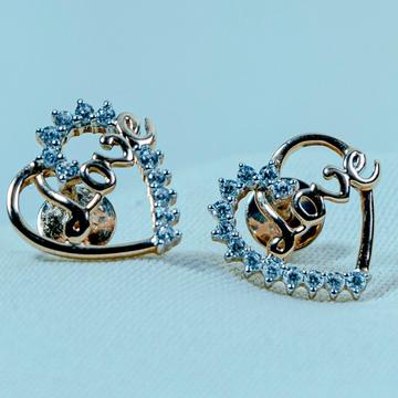 CZ Gold Heart Design Earring ETI-143 by