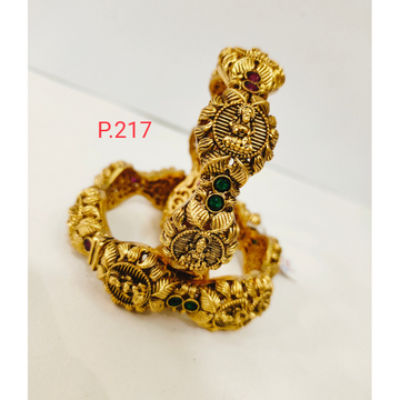 Different style Antique golden laxmiji design work with green and pink color stone & screw openable kada 1205