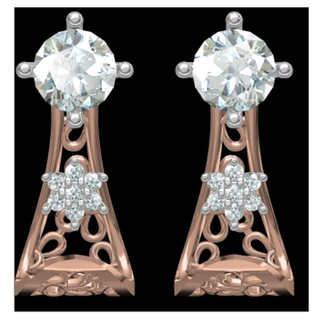 18kt cz rose gold diamond earrings
