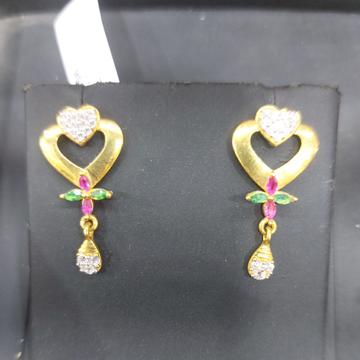 Heart cz earring by Parshwa Jewellers