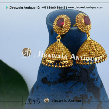 Antique Gold Earring With Balls Work.