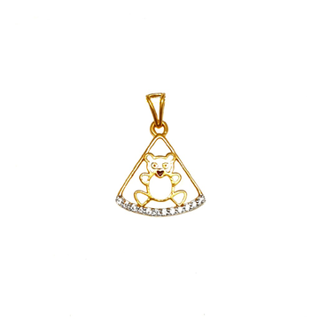22K Gold Triangle Shaped Kids Pendant - PDG1164