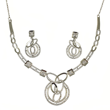 925 Sterling Silver Round Shaped Fancy Necklace Set MGA - NKS0099