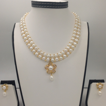 WhiteCZ And Pearl PendentSet With 2Line ButtonJali Pearls Mala JPS0379