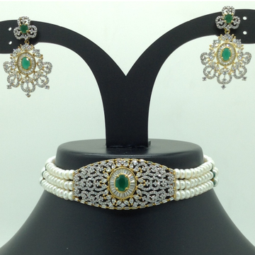 White and Green CZ Choker Set With 3 Line Flat Pea...