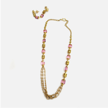 916 Gold Antique Pink Stone Mala RHJ-4475