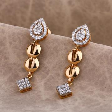750 Rose Gold Fancy Women's CZ Earring RE182