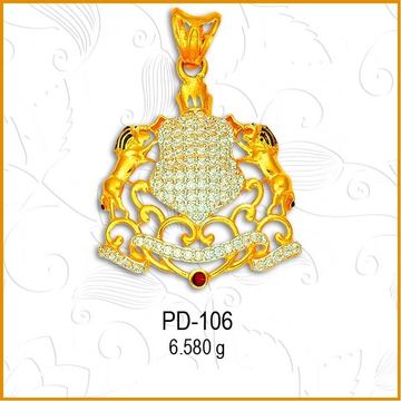 916 Gold CZ Climbing Lion Fancy Pendant PD-106