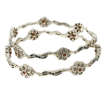 925 sterling silver flower shaped fnacy kadali bangle mga - kds0336