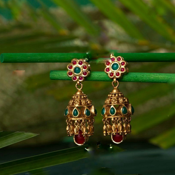 22KT/ 916 Gold antique wedding bridle Jhumka Earri... by