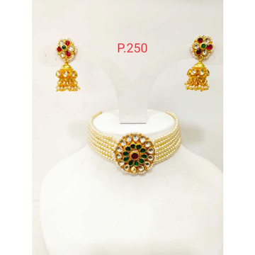 Gold Plated perl choker necklace set with earring1187