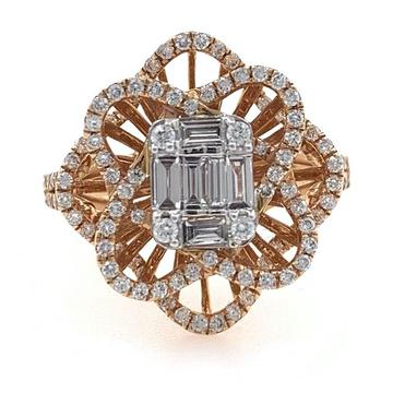 18kt / 750 rose gold anniversary gift diamond ladi...