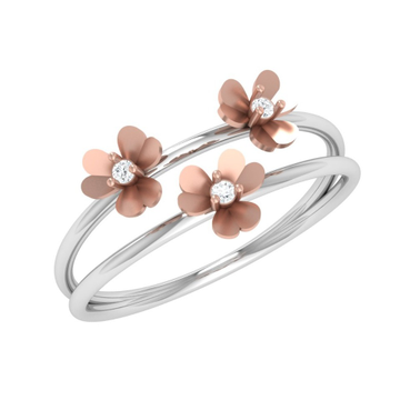 18K Rose Gold Floral Design Diamond Ring JJ-R07