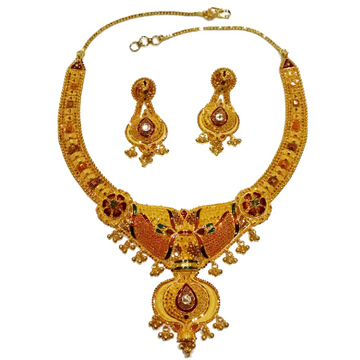 22k gold kulkatti half necklace set mga - gn0049