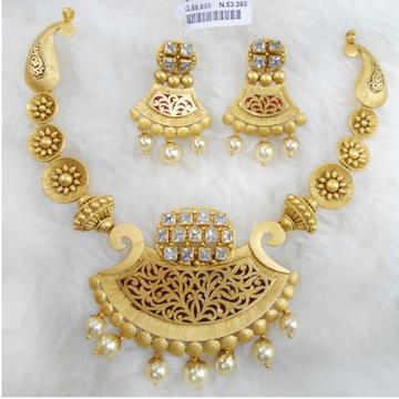 Gold Antique Jadtar Necklace Set RHJ 5235