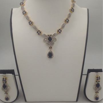 Blue Sapphires And White CZ Stones Necklace Set JNC0058