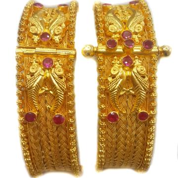22k gold rajwadi peacock  bangles mga - gp011