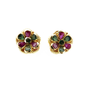 18K Gold Colour Stone Flower Tops by