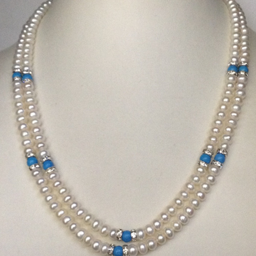 Freshwater White Flat Pearls Necklace with CZ Chakri 2 Layers