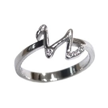 925 Sterling Silver Alphabet (Letter N) Ring MGA - LRS1545
