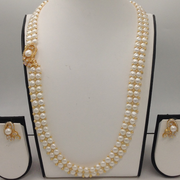 WhiteCZ And Pearls BroachSet With 2Line ButtonJali Pearls Mala JPS0221