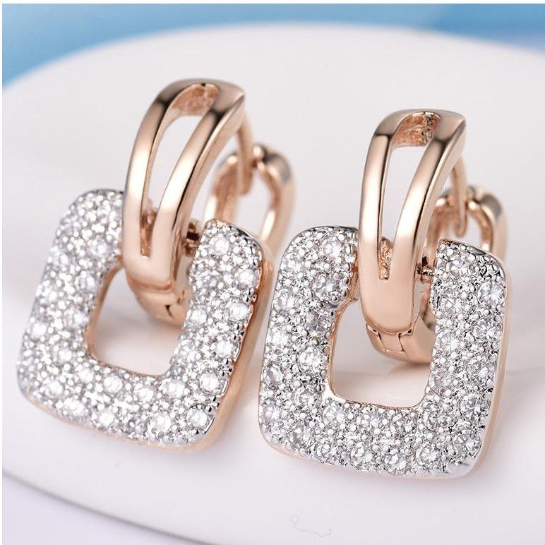 18k rose gold square design Earring sk-e01