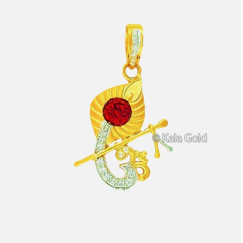 916 Gold Religious Om Design CZ Pendant