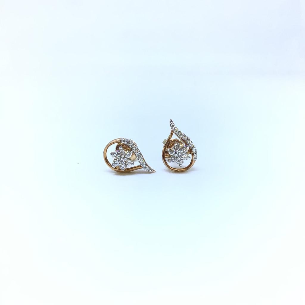 FANCY REAL DIAMOND ROSE GOLD EARRING