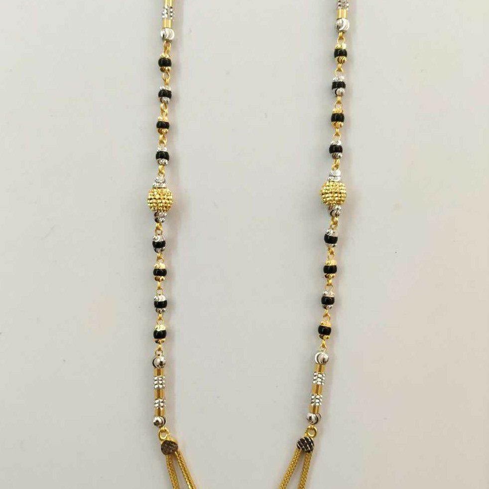 22k Gold Cz Heart Single Line Fancy Mangalsutra DVJ-021