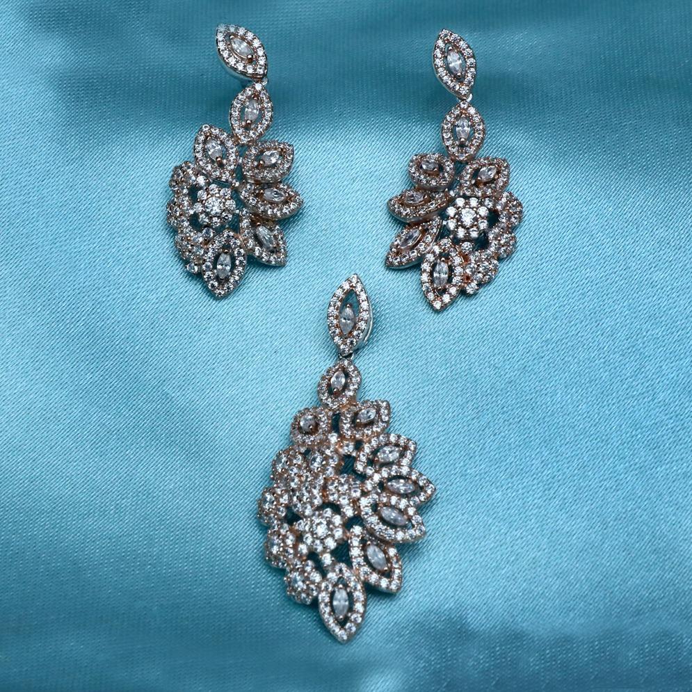 916 Gold CZ Diamond Pendant Set PJ-PS013
