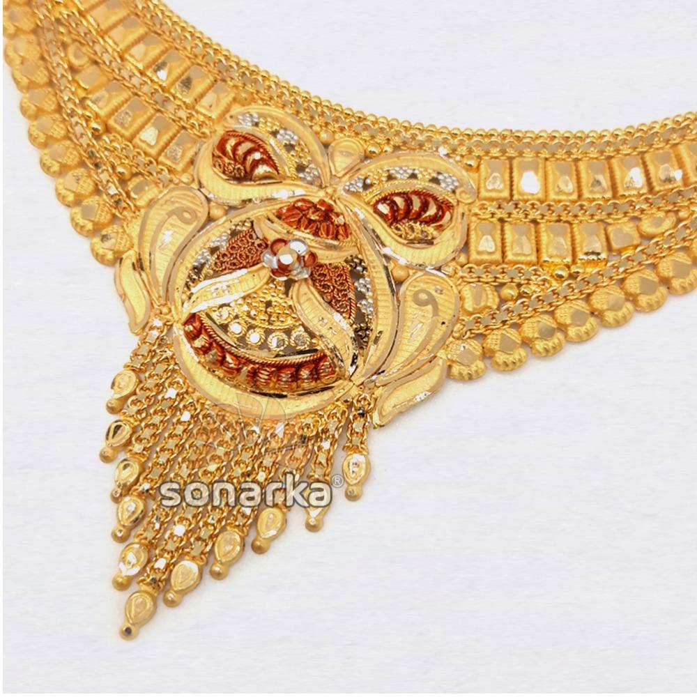 916 Hallmarked Plain Gold Ladies Traditional Bridal Necklace Set