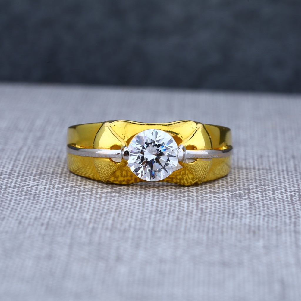 Daily Wear Mens Fancy Solitaire Gold Ring-MSR21