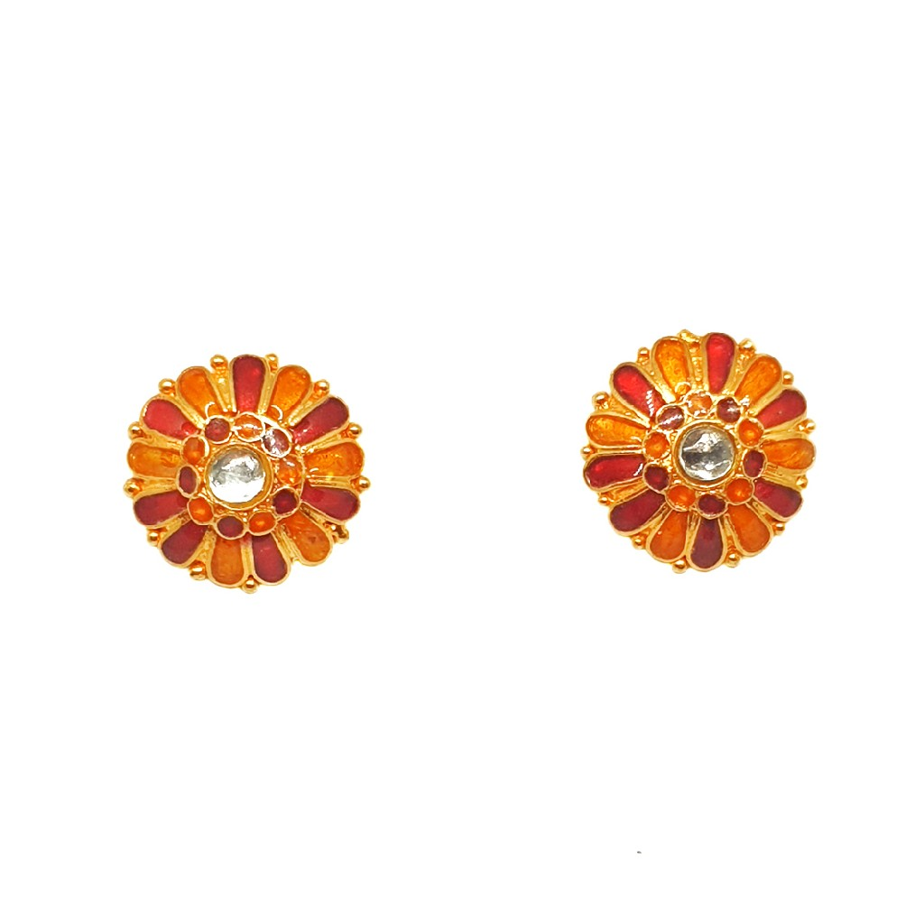 22K Gold Round Shape Meenakari Tops Earrings MGA - BTG0137