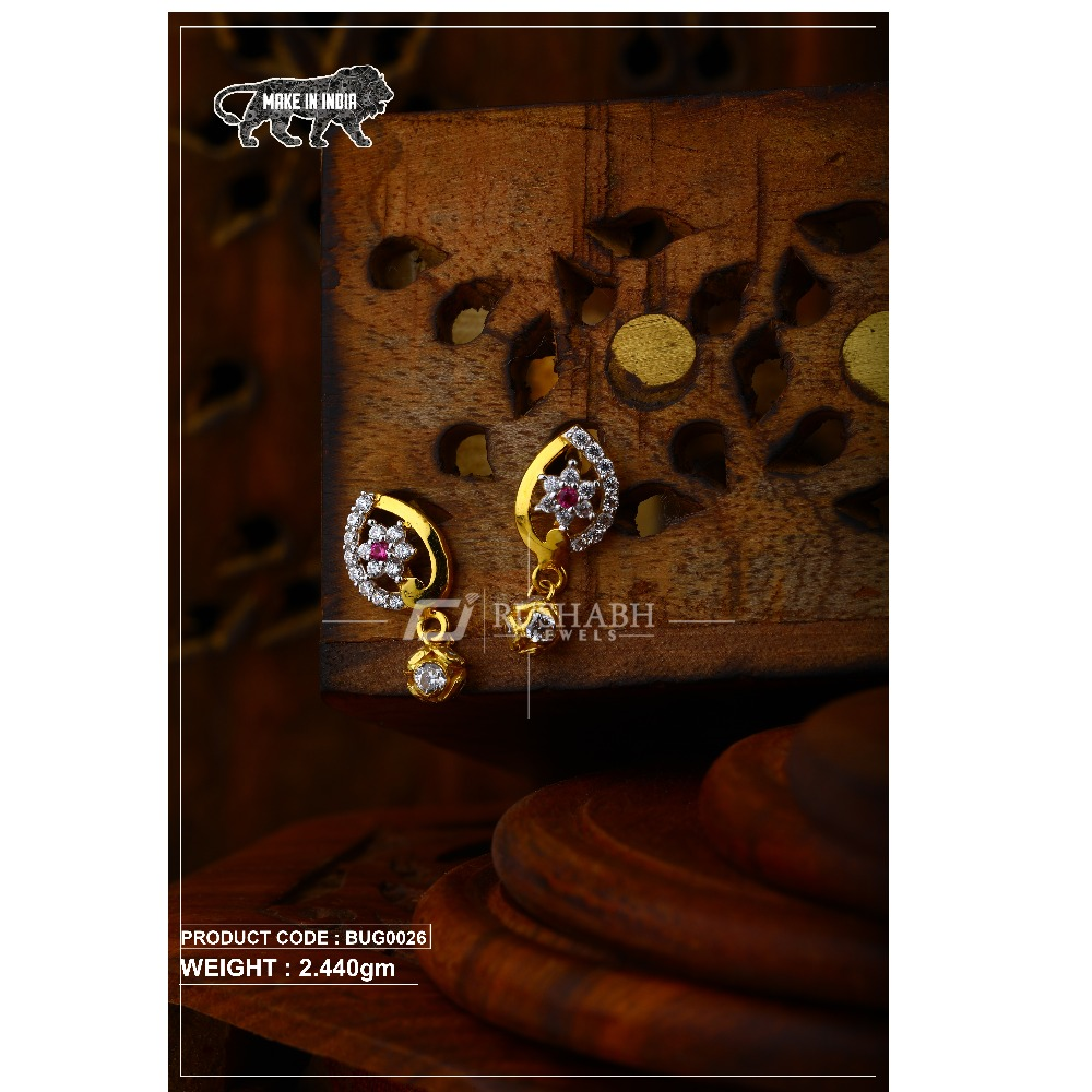 18 carat Gold ladies tops with ball  earrings and red stone bug0026