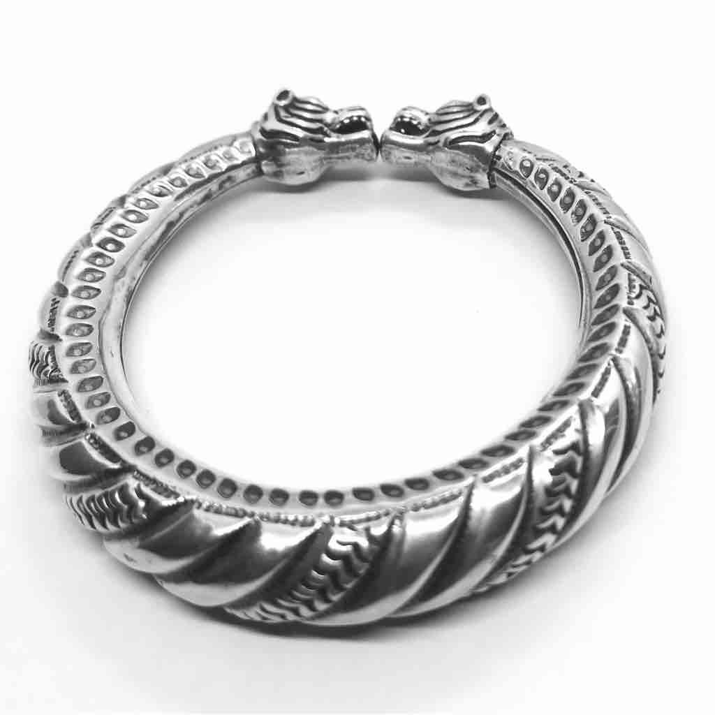 925 silver antique gents flexible kada