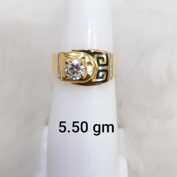 white stone solitaire gent's ring