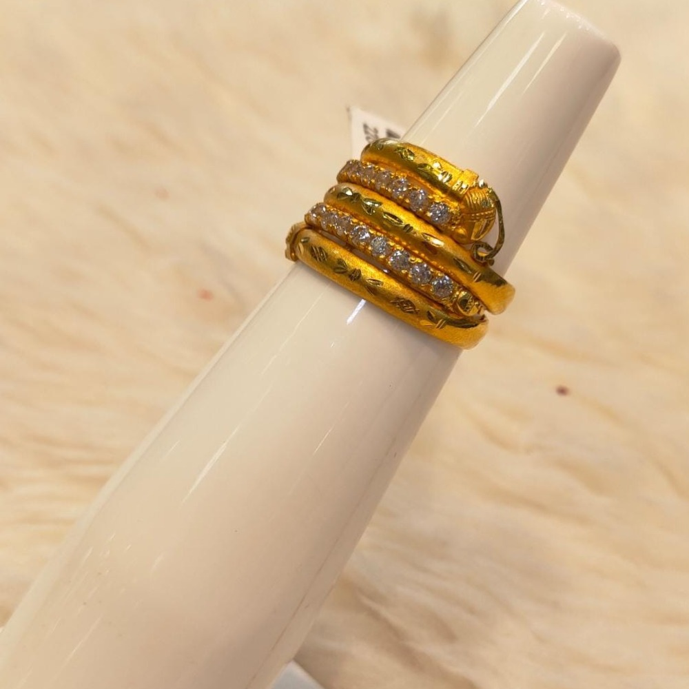 916 Gold CZ 3 Line Ring For Women