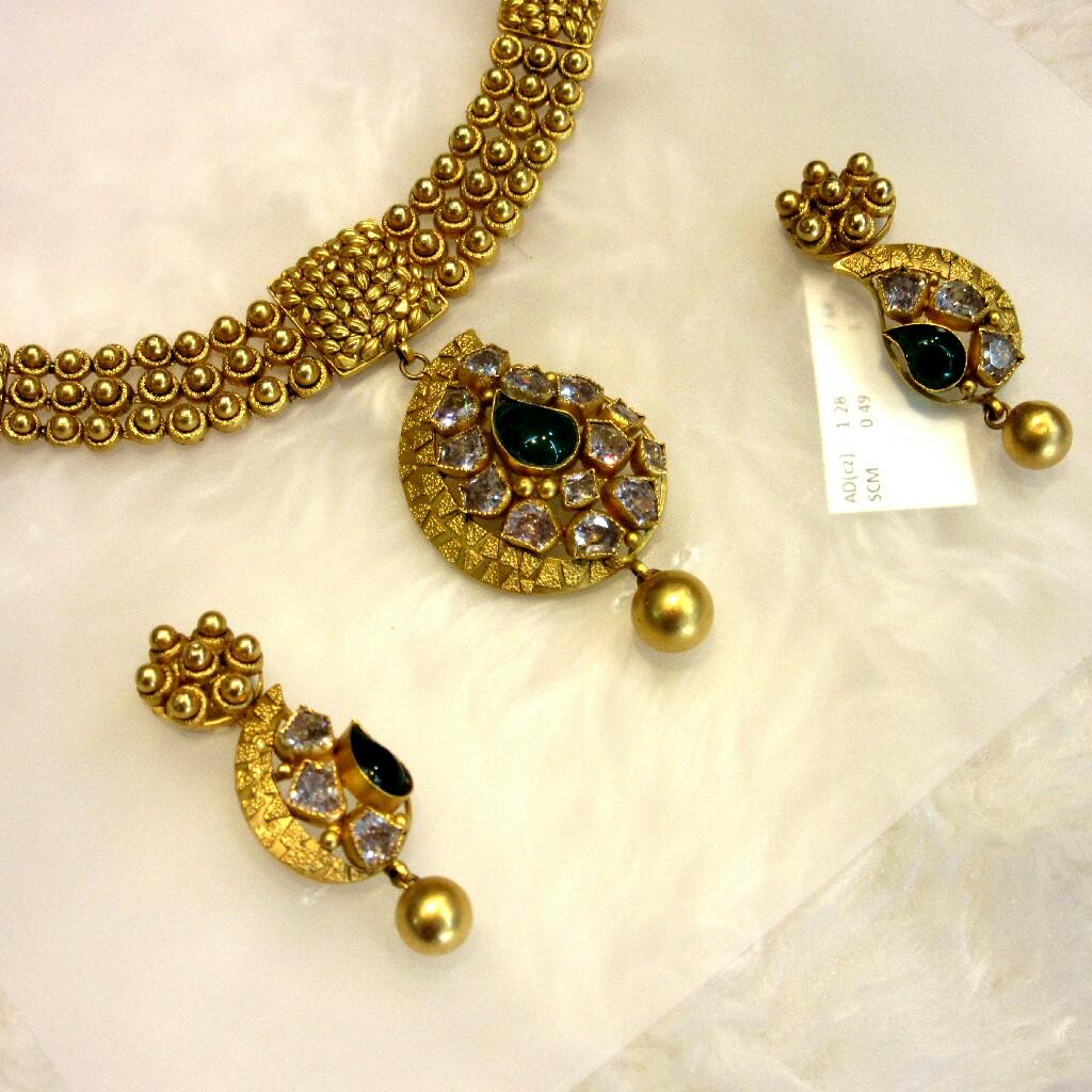 Gold 22k Antique Jadtar Bottle Green Stone Necklace Set