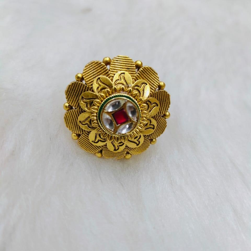 22k antique jadtar flower shaped ring