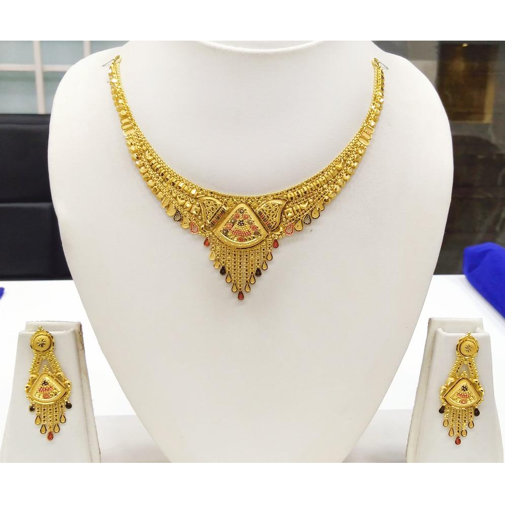 916 gold fancy light weight necklace set rj-n008
