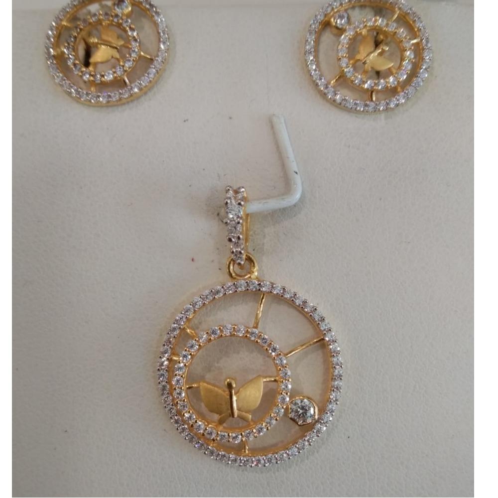 22KT Gold Flora Design Pendant Set