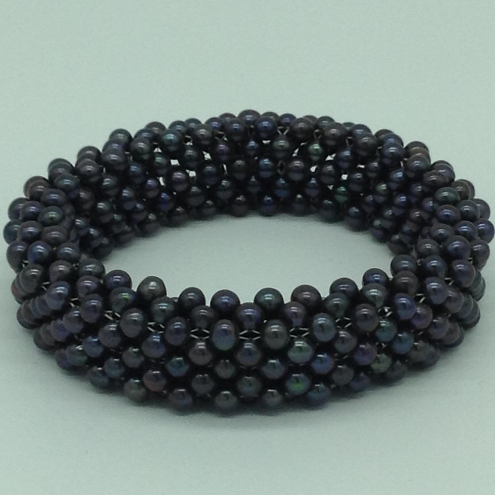 Black RoundPearls Jali Elastic BraceletJBG0202